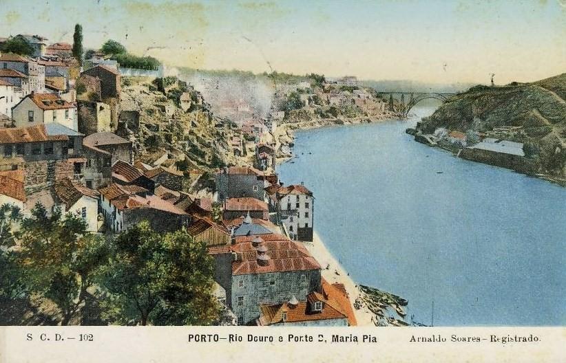 PORTO_Rio_Douro_e_Ponte_D._Maria_Pia_Edi_o_de_Arnaldo_Soares